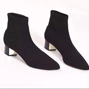 Ankle Knit Sock Booties w/ Block Heel
